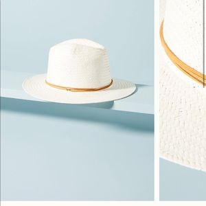 Anthropologie Fedora leather trimmed hat